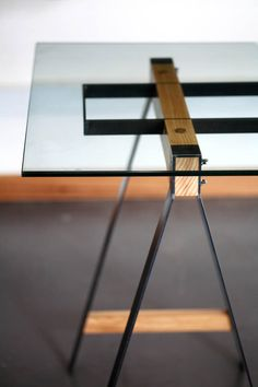 Pedersen + Lennard Glass Trestle table