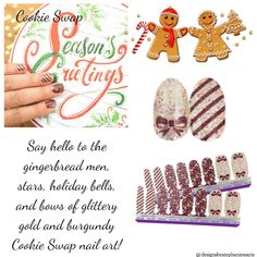 Cookie swap Christmas Nails 2016, Fail Nails, Street Game, Glittery Nails, Cookie Swap, Color Street Nails, Accent Nails, Beautiful Soul, Nails Inspiration