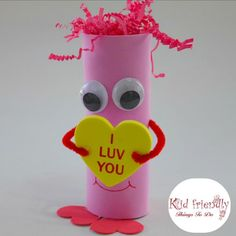 Look at this easy and adorable Valentine Creature! Perfect for preschool kids and elementary school Valentine's Day party craft. You can get everything at the Dollar Store! Kinder Valentines, Valentine Crafts For Kids, Valentines Day Party, Holiday Crafts, Valentine's Day Crafts For Kids, Diy For Kids, Diy And Crafts Sewing, Freundlich, Craft Party