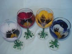 Pansie Flowered Personalized Hand Painted Wine Glasses