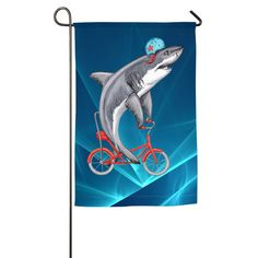 Personalised Cartoon Shark Banner Decoration 11 Colours Flag With 4 Eyelets