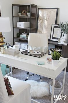 See my Home Office Makeover with before and after photos! Check out the wall paint color I picked: BM SIMPLY WHITE 2016 Color of the Year plus new storage furniture and decor!settingforfou - Office Desk - Ideas of Office Desk Modern Home Office Furniture, Home Office Space, Office Workspace, Home Office Desks, Office Table, Small Office, Study Office, Office Spaces, Home Office White Desk