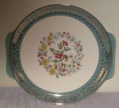 """Vintage 12"""" Serving Platter Green/Gold/Cream Handles Floral #DH48 #Unbranded"""