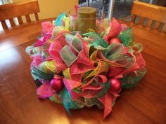 Easter Spring Pastel Deco Mesh Tabel Centerpeice by DecoDzigns Holiday Centerpieces, Candle Centerpieces, Centerpiece Decorations, Easter Centerpiece, Holiday Decorations, Easter Wreaths, Holiday Wreaths, Holiday Crafts, Spring Wreaths