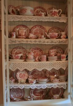 White cupboard with red transferware - nice idea for Dining Room curio cabinet Antique Dishes, Vintage Dishes, Antique China, Vintage China, Vintage Kitchen, Dish Display, China Display, Red Cottage, French Country Cottage