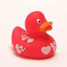 Canard de bain canard rouge avec des blancs, coeurs gummiente lanco canard de bain-figurine de bruit, sortie de bain en caoutchouc de 2003, jouets, liLaLu