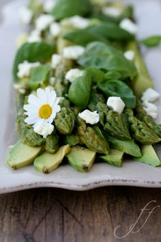 Asparagus with avocado. Just leave out the feta <3