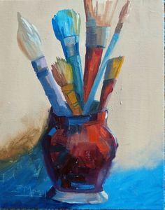 """Every Artist needs theirs tools - this painting is oil on canvas, 11x14"""""""