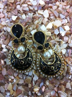 Zari & Zevar Meenakari Black Earrings for $ 39.99