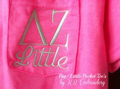 Inexpensive and Adorable Big/ Little Pocket T-Shirts! Perfect for reveal week!
