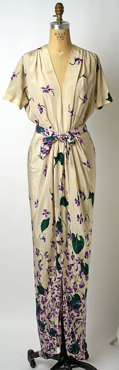 Dress, Dinner  Mark Mooring  (American)  Department Store: Bergdorf Goodman (American, founded 1899) Date: 1942 Culture: American Medium: silk