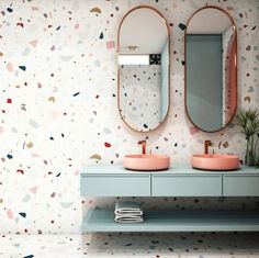 Terrazzo wallpaper is a more cost effective alternative to tiles, and still gives the same modern, arty style. Terrazzo is bang on trend this year and we're already seeing it everywhere! Terrazzo, Modern Bathrooms Interior, Bathroom Interior Design, Bad Inspiration, Bathroom Inspiration, Small Bathroom, Basement Bathroom, Pastel Bathroom, Ikea