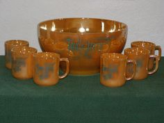 7 Piece Fire King Peach Tom & Jerry Punch Bowl Set by parkie2, $48.25