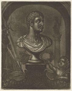 Pieter Anthony Wakkerdak | Buste van keizer Augustus, Pieter Anthony Wakkerdak, 1740 - 1774 | Een putto met een lauwerkrans en geld wijst op een buste van keizer Augustus. Naast de buste liggen de hoorn des overvloeds en wapens. Op de achtergrond klassieke zuil.