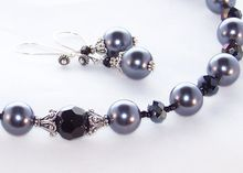 Bali Sterling Silver South Sea Shell Pearl, Onyx & Crystal Necklace and Earring Set- Jewelry Gift for Her