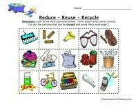 Reduce reuse recycle worksheet look at the items for Reduce reuse recycle crafts