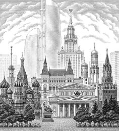#illustration #line #moscow #russia #city #blackandwhite