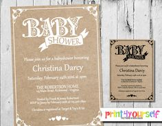 Decorative Craftpaper Baby Shower Invitation  by Print4Yourself