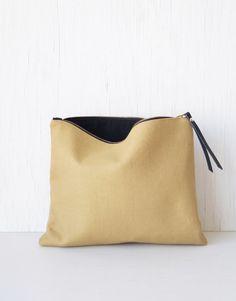 Camel clutch purse. Large makeup bag. Black & white foldover clutch. Wristlet. Pochette. Handbag. Zipper pouch. Womens fashion. Outfit. Boho fashion. Etsy