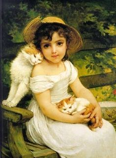 "That is a oil painting by Émile MUNIER ""Best friends"". with cats Art And Illustration, Illustrations, Paintings I Love, Beautiful Paintings, Vintage Cat, Vintage Images, Munier, Victorian Art, Vintage Children"