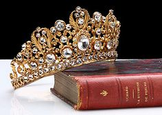 French Antique Crown Tiara with Crystal Jewels, circa 1840