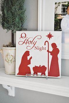 "Nativity - Oh Holy Night 12x12"" vinyl design for Christmas"