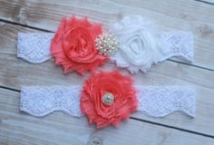 Coral Wedding Garter and Toss Garter  Bright coral by BellaSposina, $21.00