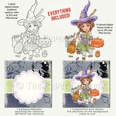 Adorable Halloween Witch - Digital Stamp