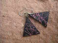 Bike Tube Earrings - Upcycled Jewelry - Hipster Indie Earrings - Bright Pink Triangle - Upcycled Eco Friendly - gift under 20 on Etsy, $16.00