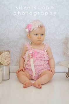 Baby Pink Petti Romper and Feather Headband by butterflybabybands, $38.00 Love the embelishments! @Shannon Mac