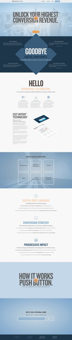 Great Bounce Exchange landing page. Great use of above-the-fold video, and value proposition elements. As you learn more about it while scrolling, you can sign up for a free consultation.