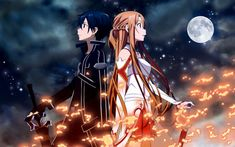 Asuna Yuuki and Kirito from the anime series Sword Art Online