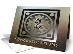 Employee Anniversary Card 2 Years Of Service Gold Colored card