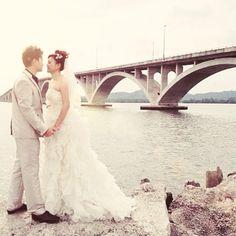 Prewedding photo #bridge #romance #wedding #photo