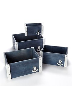 Anchor Box Set by Straw Studios  http://www.zulily.com/invite/dailysale  ~ US$39.99 (Original: US$100.00)  - Includes four boxes - Wood