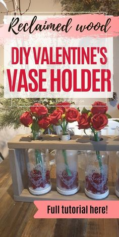 Looking for DIY Valentine's Day decor idea to make? Then check this amazing reclaimed wood DIY Valentine's vase holder decor project. Simple pallet project that will look amazing on your mantel or as a table centerpiece. Click to learn more about how to make it yourself in o time. Diy Valentine's Vase, Steel Wool And Vinegar, Wooden Pallet Projects, Diy Projects, Wooden Vase, Easy Diy, Simple Diy, Heart Decorations, How To Make Diy