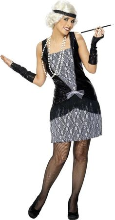 Flapper Costumes Black Headband And Gloves