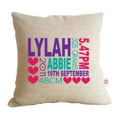 Lylah linen birth details cushion cover - hardtofind.
