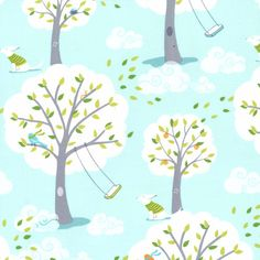 Michael Miller Fabric - Patty Sloniger - Backyard Baby Collection - Windy Day in Aqua