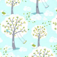 Windy Day in Blue PS-5351 - BACKYARD BABY - Michael Miller Fabrics - 1 Yard