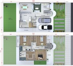 3 bedroom house plans: see 60 modern design ideas 2 Bedroom House Plans, Dream House Plans, House Floor Plans, Plantas Duplex, Craftsman Floor Plans, Duplex Plans, Simple House Plans, Florence Knoll, Apartment Plans
