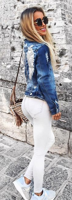 #summer #outfits  Embroidered Denim Jacket + White Skinny Jeans + Blue Sneakers