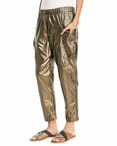 d5f3d9420e Brunello Cucinelli Designer Metallic Leather Ankle Jogger Pants Jogger Pants,  Joggers, Harem Pants,