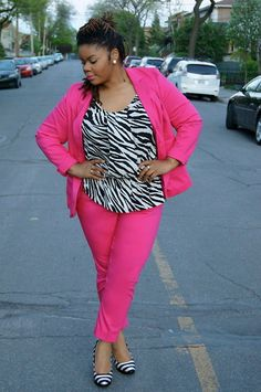 Pink Suit Lane Bryant... I love it, but I couldn't pull off this look.