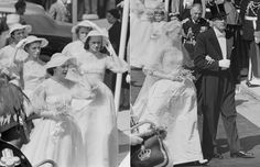 Hollywood star Grace Kelly arrives at Saint Nicholas Cathedral for her wedding to Prince Rainier III in 1956, and is accompanied by her six bridesmaids in yellow silk organdie dresses. Among them was her sister Peggy, who acted as matron of honour.