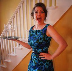 Sample SALE Blue Floral Wiggle Dress. $60.00, via Etsy.