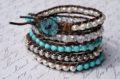Five Layered Leather and Stone Wrap Bracelet by fleurdesignz