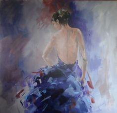 Schilderij, figuratief en kleurrijk, paars, taupe, wit. charmante vrouw, kleurige jurk, op de rug gezien, 120x120 formaat, 3D doek www.yvonvanwordragen.nl
