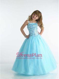 Cuello Cuadrado Azul de organza vestido de gala vestido de niña de las flores del Frente de partida y Hem longitud de la rodilla