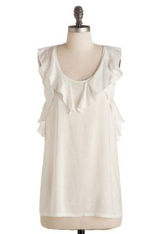 top: white ruffle